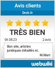 Avis clients de droit.fr